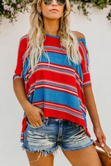 Necessary red and blue stripes loose blouse Blouses & Shirts Teal Demeter
