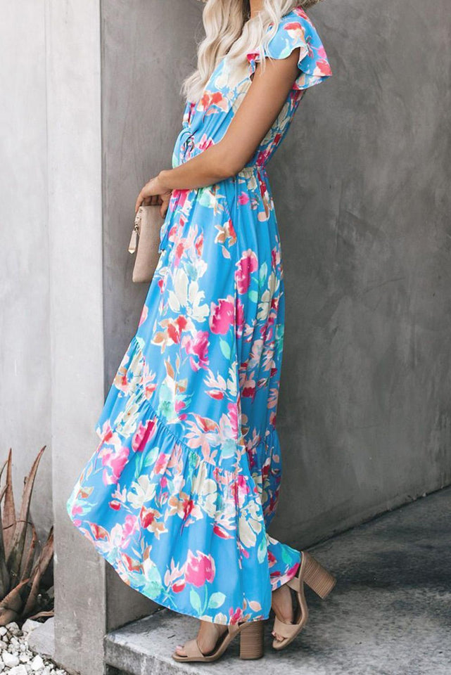 Necessary sky blue floral maxi dress Dresses Teal Demeter