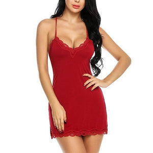 Necessary Sleeveless Halter Neck Lace Fringed Sleepwear Sleepwear Foundfinding Store