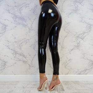 Necessary Stretch Faux Leather Shiny Leggings Leggings Yukino Store