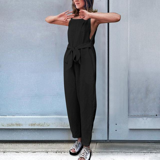 Necessary Summer Fashion Sleeveless Loose Jumpsuit Jumpsuits Adorn Neatnew Store BK S