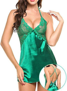 Necessary V Neck Satin Chemise Sleepwear BeautyLady Shop Store green S