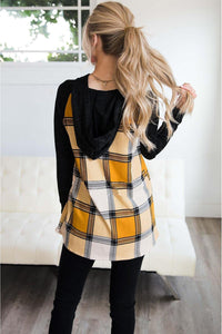 Necessary yellow plaid pullover hoodie Hoodies Teal Demeter