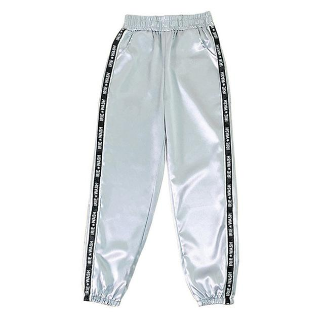 Party Girl Satin Joggers Pants & Capris Joggers Drop Shipping Store A gray S