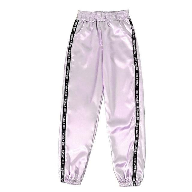 Party Girl Satin Joggers Pants & Capris Joggers Drop Shipping Store A light purple S