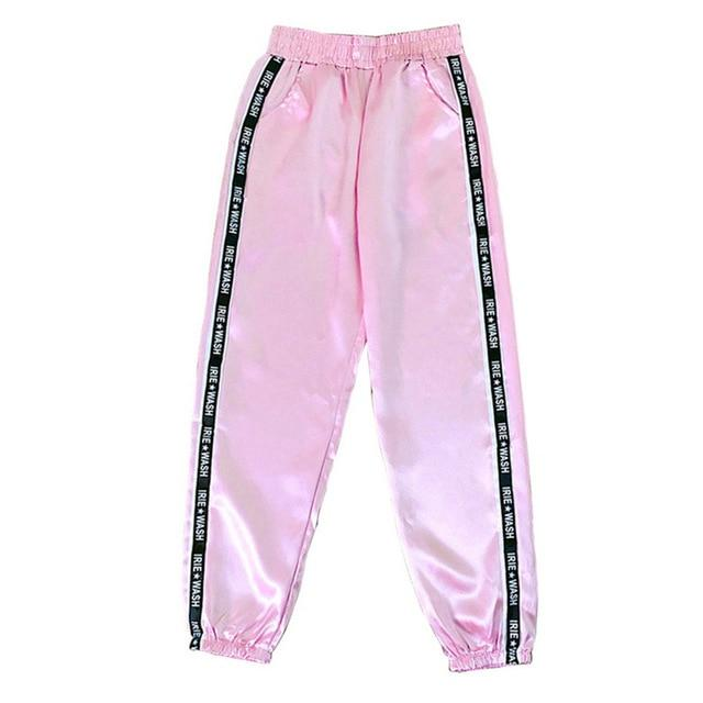 Party Girl Satin Joggers Pants & Capris Joggers Drop Shipping Store A pink S