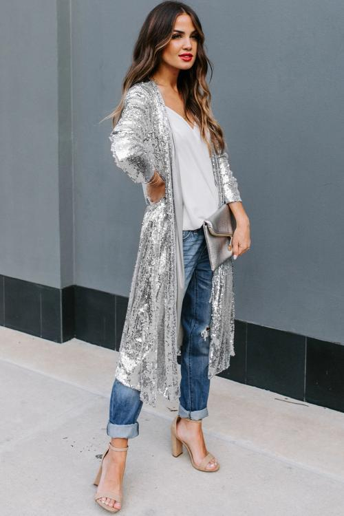 Silver Sequin Duster Sweater Jackets & Coats Teal Demeter