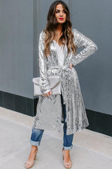 Silver Sequin Duster Sweater Jackets & Coats Teal Demeter (US 12-14)L