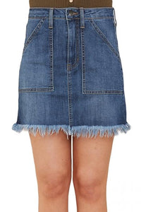 Sky Blue Distressed Hem Denim Skirt Skirts Teal Demeter