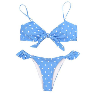 Teeny Polka Dot Bikini Bikini Set Randompiece Store Blue S