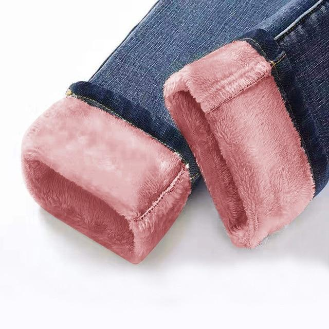 Velvet Winter Warm Jeans Jeans large size clothes Store dark blue pink 25
