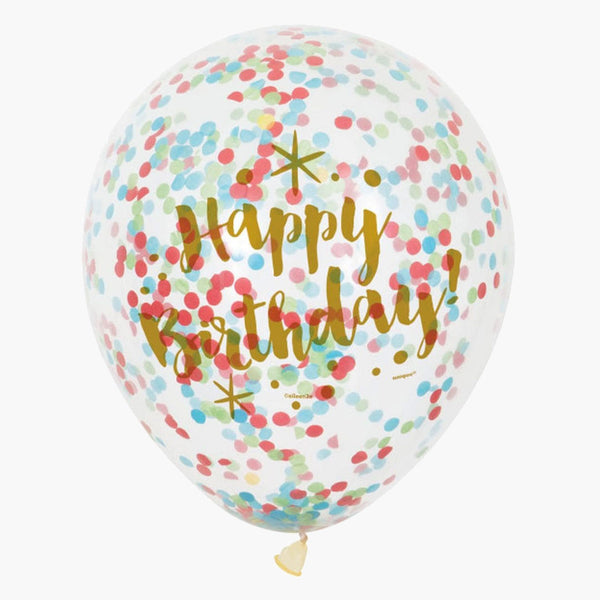 Bright Birthday Confetti Balloons (6 Pack)