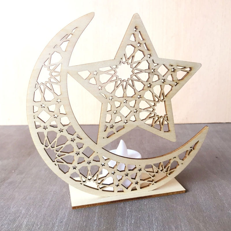 Ramadan Eid Decorations Supplies for Home Moon Candles Light Wooden Plaque