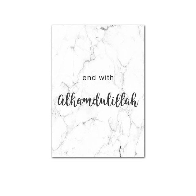 Allah Bismillah Islamic Quotes Wall Art Canvas Poster Print Marble Modern Home Decorative Picture Painting