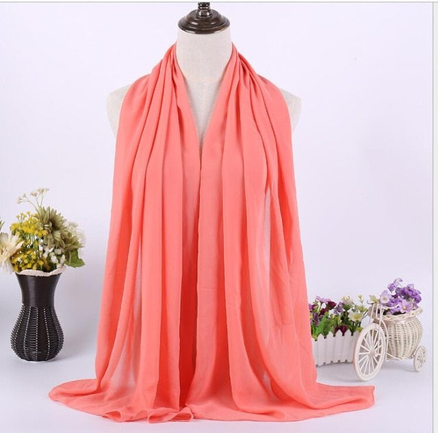 Quality Long Chiffon Sarves Hijabs For Women Plain Color Islamic Women Muslim Headscarf