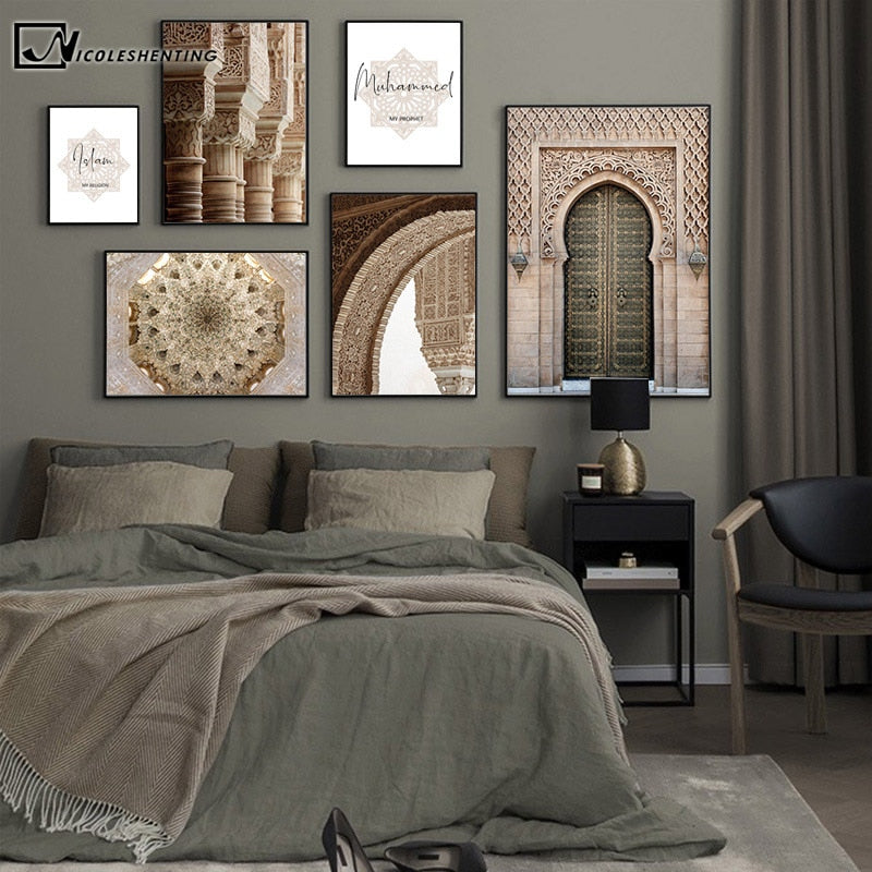 Islamic Architecture Poster Alhambra Hassan Mosque Wall Art Canvas Print Allah Muhammed Picture Painting Modern Home Decoration
