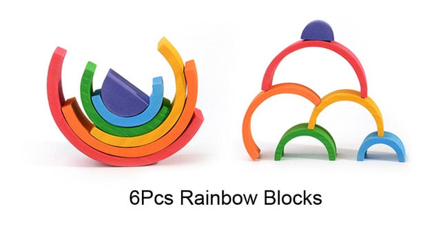 Rainbow Wooden Toys Toddler Playset Montessori Waldorf Inspired Colourful Rainbow Blocks Stacker Toy