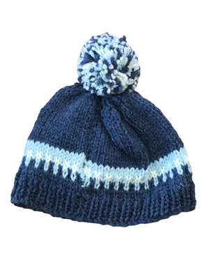 Beanie in blue with bobble | The Bower Tasmania