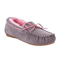 Load image into Gallery viewer, Moccasin Slipper in Ash/Pink | The Bower Tasmania