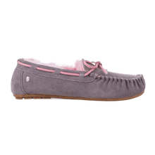 Load image into Gallery viewer, Moccasin Slipper in Ash/Pink inside view | The Bower Tasmania