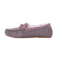 Load image into Gallery viewer, Moccasin Slipper in Ash/Pink outside view | The Bower Tasmania