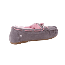 Load image into Gallery viewer, Moccasin Slipper in Ash/Pink back view | The Bower Tasmania