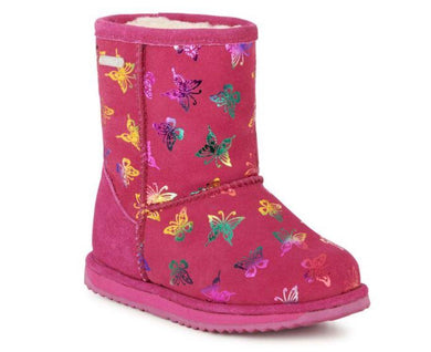 Waterproof kid's boot in fuschia with butterflies - The Bower Tasmania