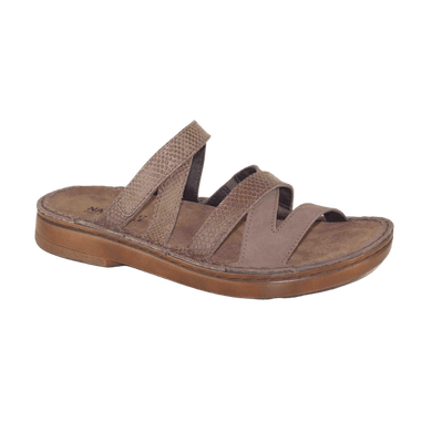 Womens Slide with adjustable Velcro strap in Shiitake Brown Combo | The bower