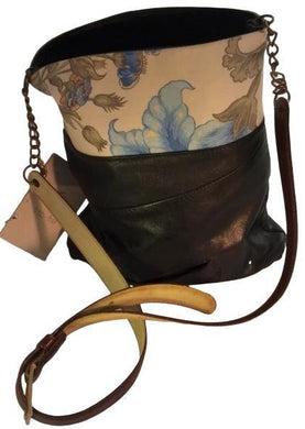 Black leather shoulder bag with blue flower design - The Bower Tasmania