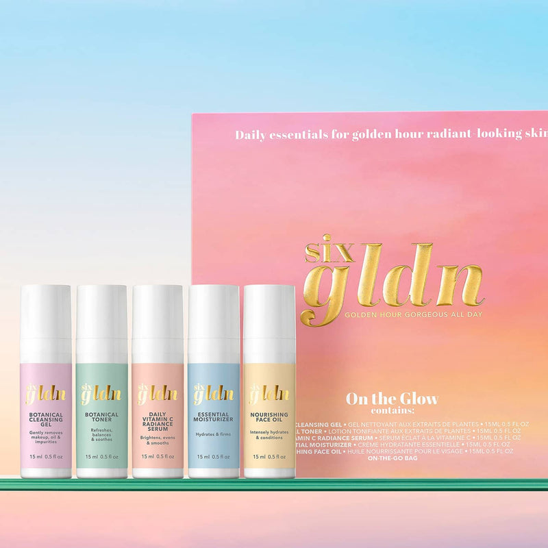 On the Glow Collection of Minis: 15ml Botanical Cleansing Gel, Botanical Toner, Daily Vitamin C Radiance Serum, Essential Moisturizer, Nourishing Face Oil plus a free reusable bag