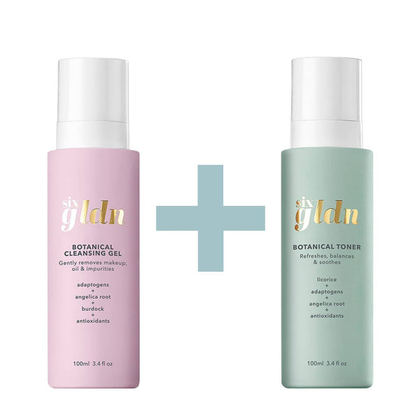 The light pink recyclable 100ml glass Botanical Cleansing Gel is next to the light greeny mint recyclable 100ml bottle of Botanical Toner. There is a light blue plus sign between them because they are sold together and all against a white background