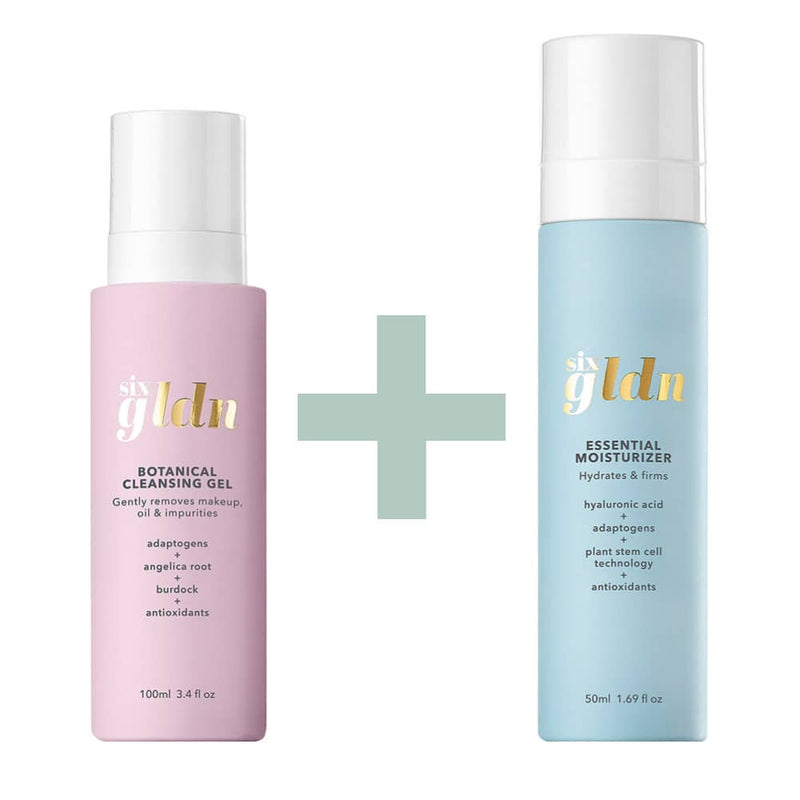 Light pink recyclable 100ml glass bottle of Botanical Cleansing Gel is next to the light blue recyclable and refillable glass 50 ml bottle of Essential Moisturizer. There is a light green big plus sign between them because they are sold together and all against a white background