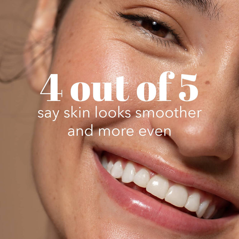 Close up Six Gldn model smiling with no makeup glowing radiant skin with the consumer claim that 4 out of 5 say skin looks smoother and more even