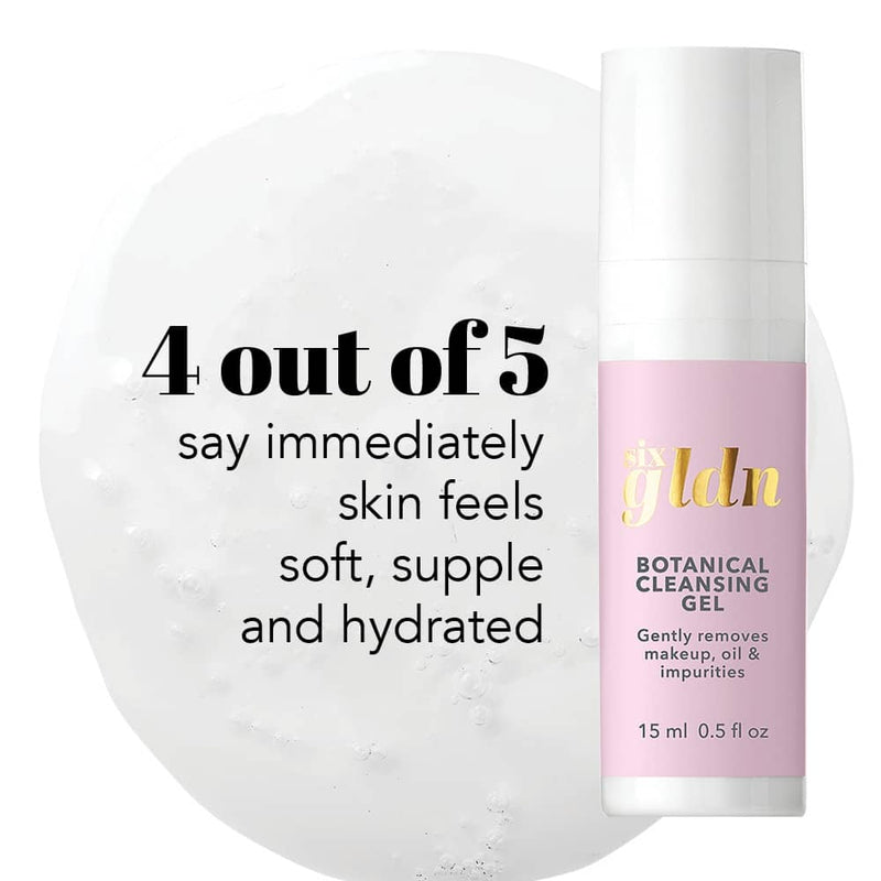 15 ml light pink Six Gldn Botanical Cleansing Gel with proven results. 4 out of 5 say immediately skin feels soft, supple and hydrated