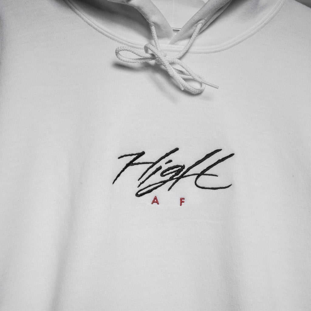 HIGH AF HOODED SWEATSHIRT - WHITE