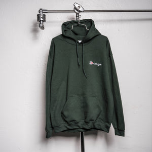 DRUG CHAMP Embroidered Hooded Sweatshirt - DARK GREEN