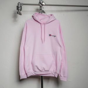DRUG CHAMP Embroidered Hooded Sweatshirt -PINK