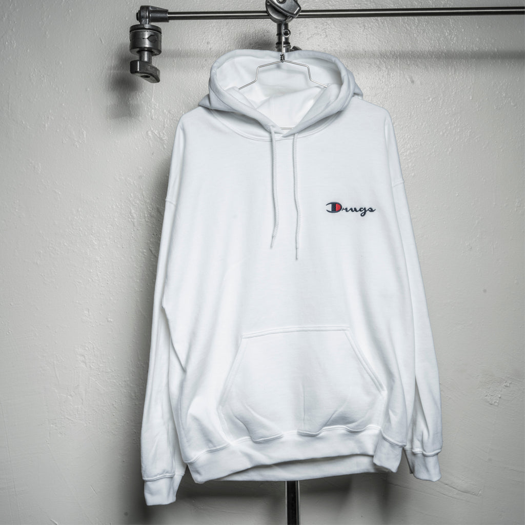 DRUG CHAMP Embroidered Hooded Sweatshirt - White