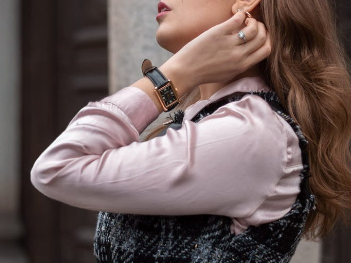 The Perfect Transitional Outfit from Winter to Spring featuring Classique Gold Watch