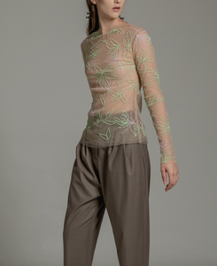 Multi-color embroidered fitted top