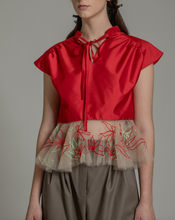 Load image into Gallery viewer, Festive Multi-color embroidered peplum top