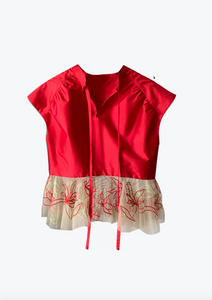Festive Multi-color embroidered peplum top