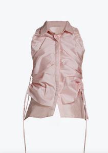 Blushed top with drawstring panels