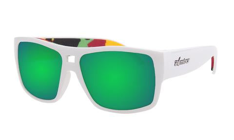 Irie White Rasta Polarized Green Mirror - Bomber Eyewear Nz