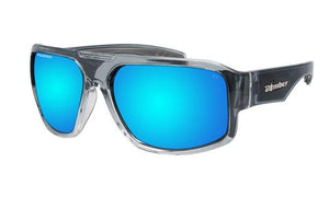 Mega 2 Tone Crystal Polarised  Ice Blue Mirror - Bomber Eyewear Nz