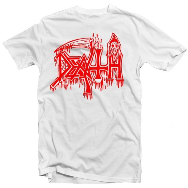 Death - Classic Logo (Red on White) T-Shirt