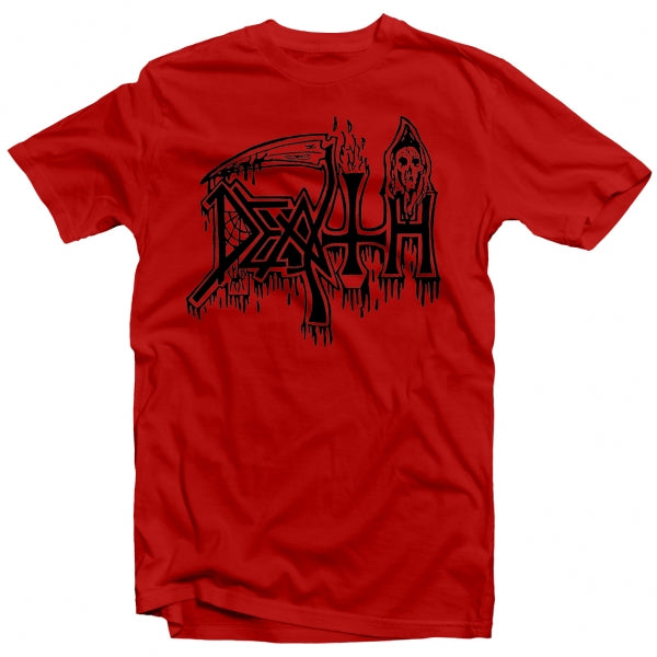 Death - Classic Logo (Black on Red) T-Shirt
