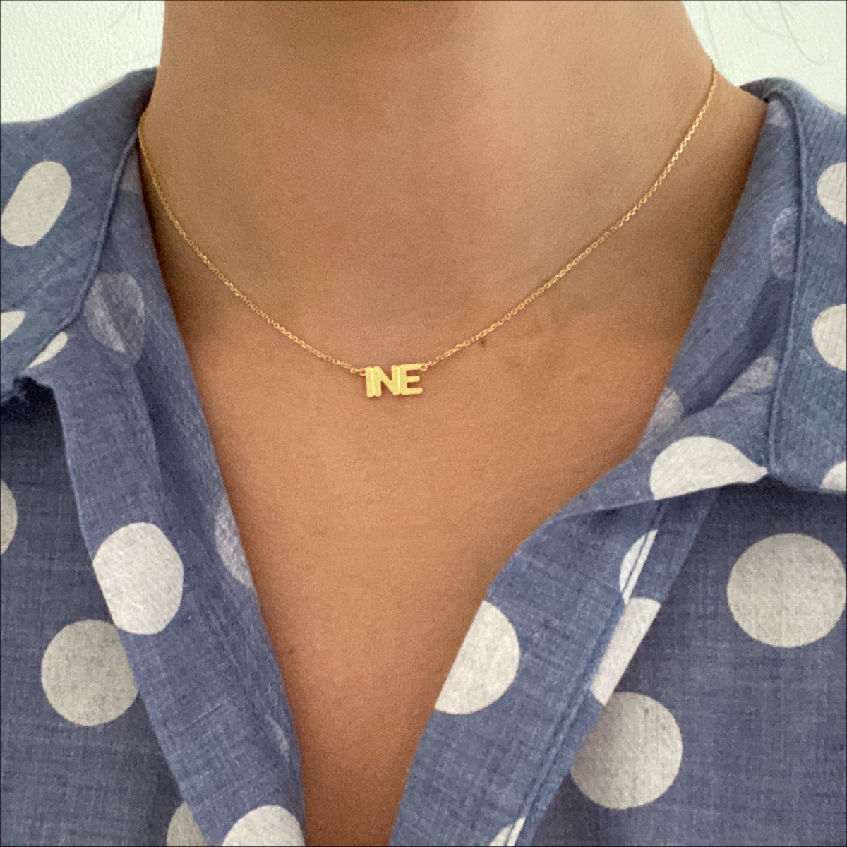 Block Name Necklace - Solid Gold