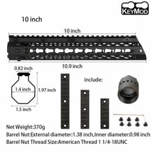 Load image into Gallery viewer, Slim Style 10 inch Steel Free Float Keymod Handguard Picatinny Rail with Steel Barrel Nut