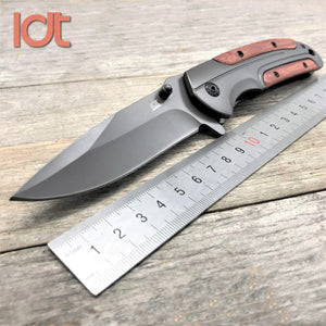 Folding Knife Rosewood Steel Handle Survival Pocket Knife